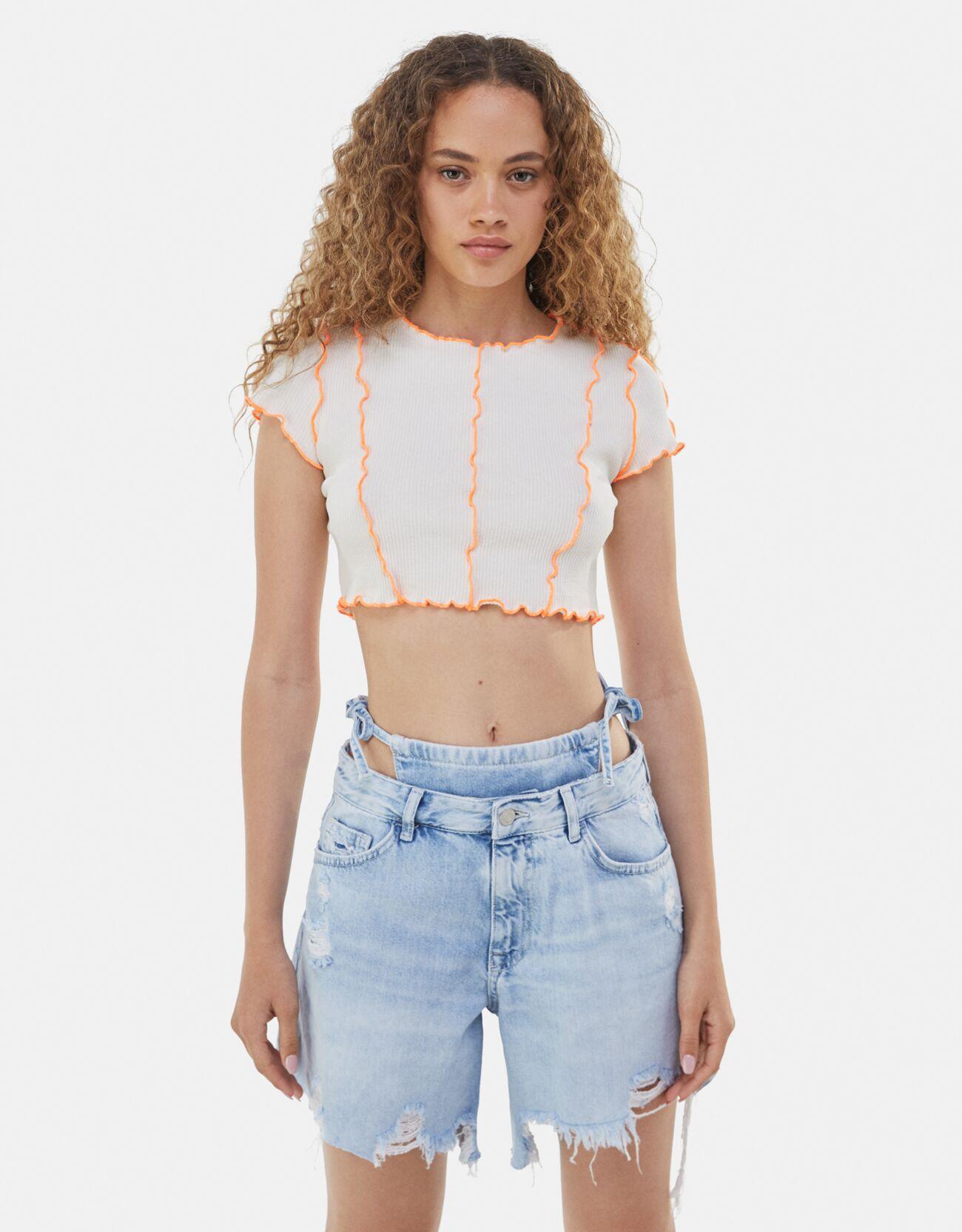 bershka -  Gekräuseltes T-Shirt Damen Xs Sandfarbe