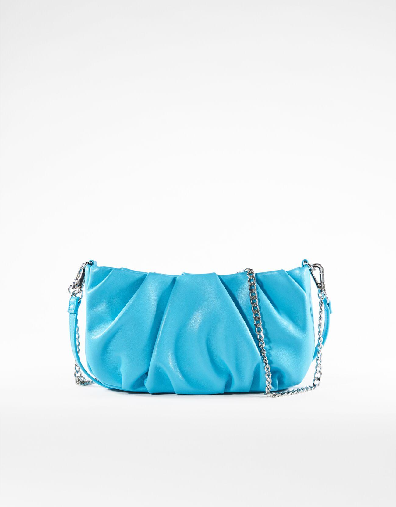 bershka -  Tasche Mit Kette Und Zierfalten Damen Blau