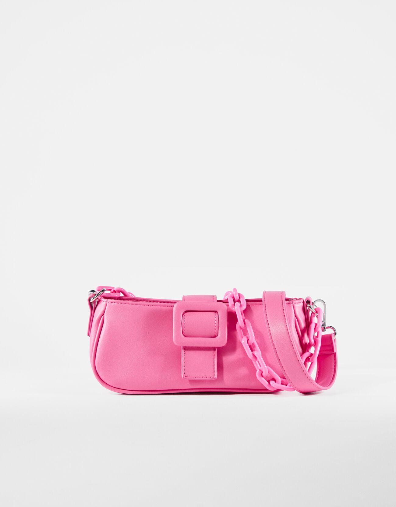 bershka -  Tasche Mit Kette Und Schnalle Damen Rosa