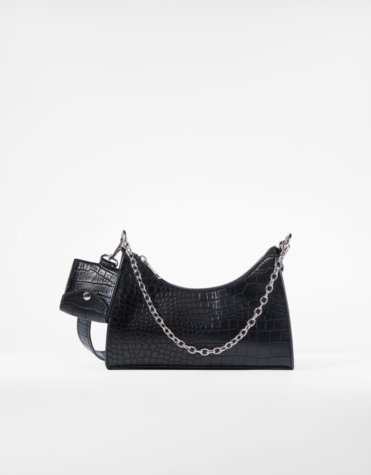 bershka -  Tasche Mit Krokoprägung Und Außentasche Damen Schwarz
