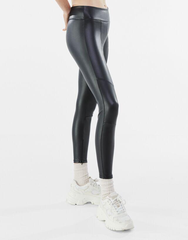Leggings Efecto Piel Pantalones Mujer Bershka