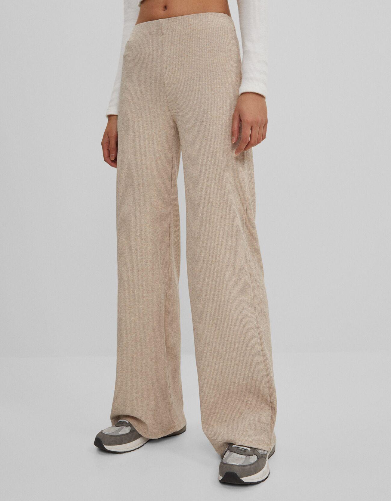Песочный Широкие брюки Bershka