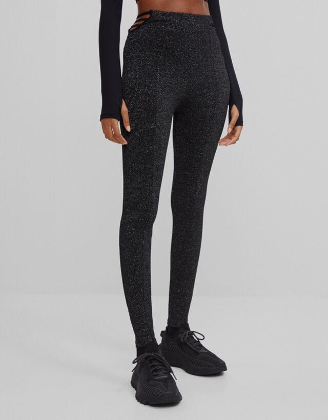 Pantalon Legging Metalizado Pantalones Mujer Bershka