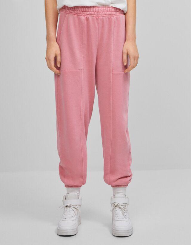 Pantalon Jogger Felpa Detalle Reflectante Pantalones Mujer Bershka