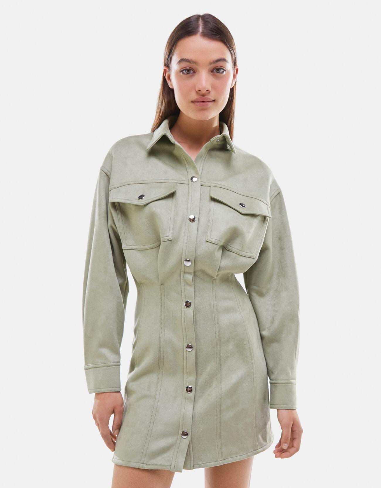 Bershka Hemdkleid Aus Wildlederimitat Damen Xs Grün