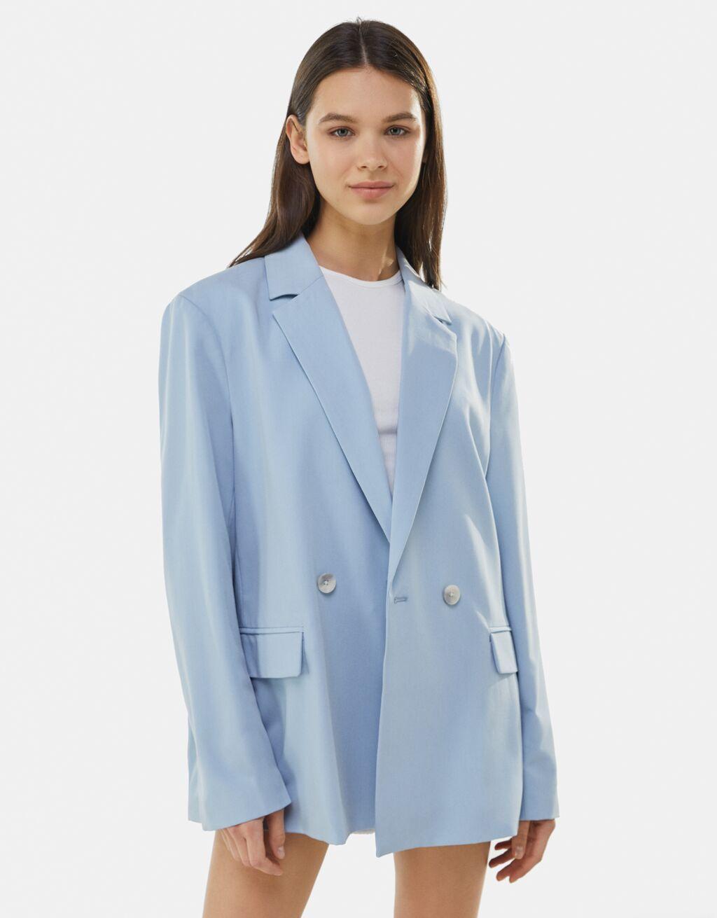 Flowing buttoned blazer-Light blue- bershka