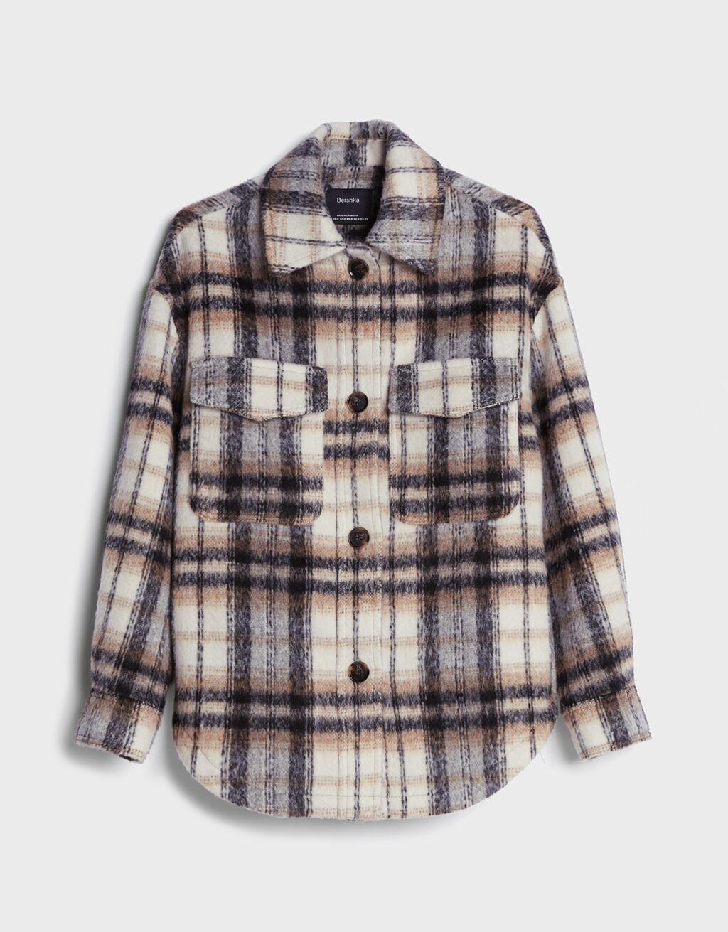 Camisa comprida oversize aos quadrados-Marrom-4