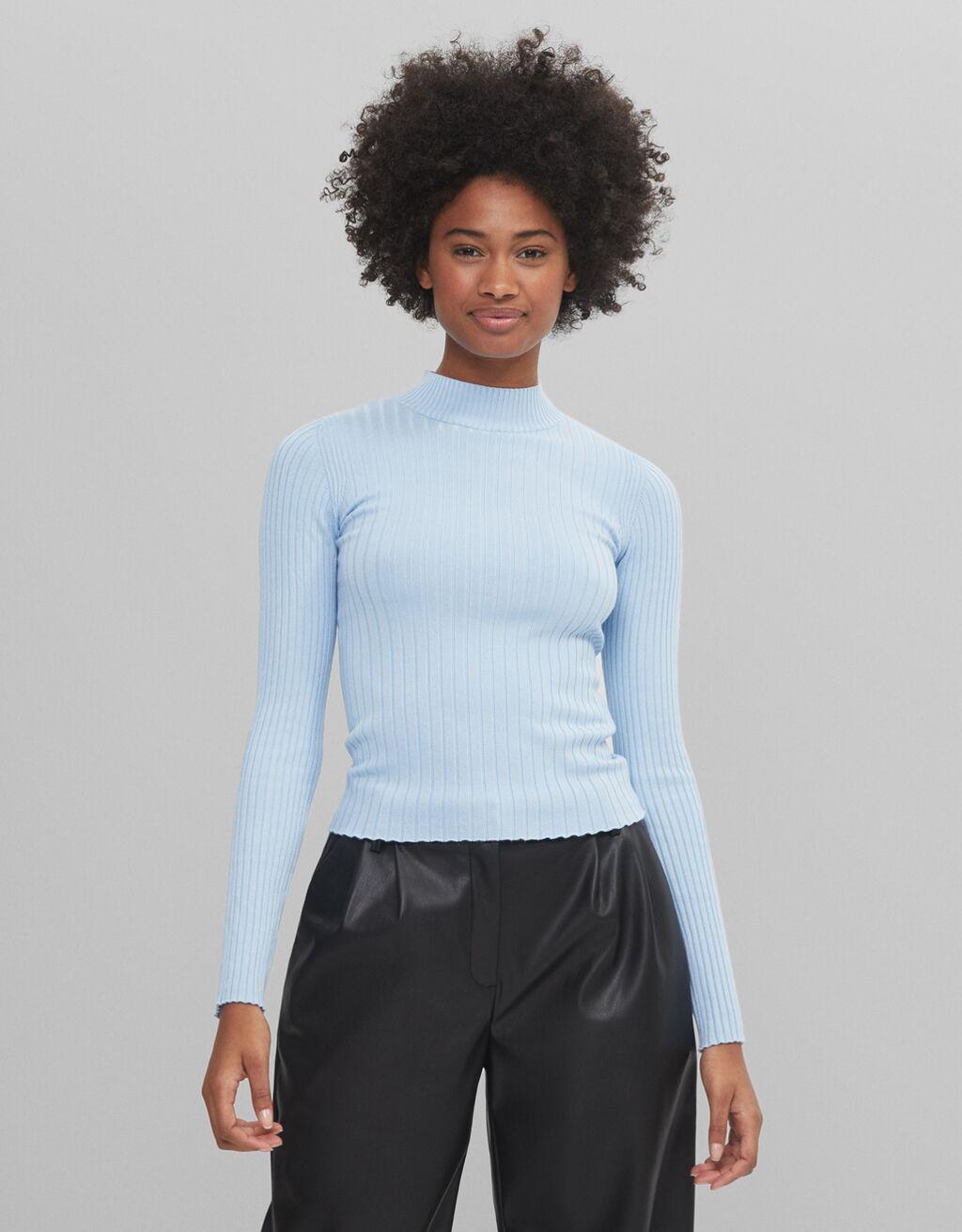Pullover mit geripptem Stehkragen - Pullover und cardigans - Damen