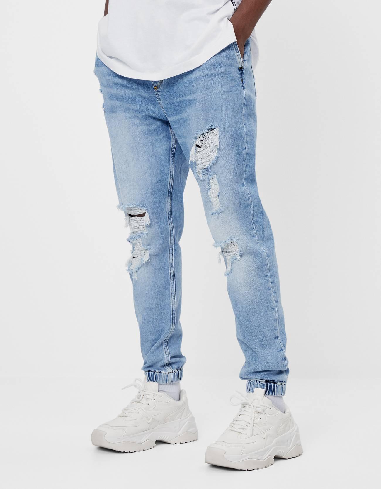 Jeans Jogger Con Rotos Hombre Bershka