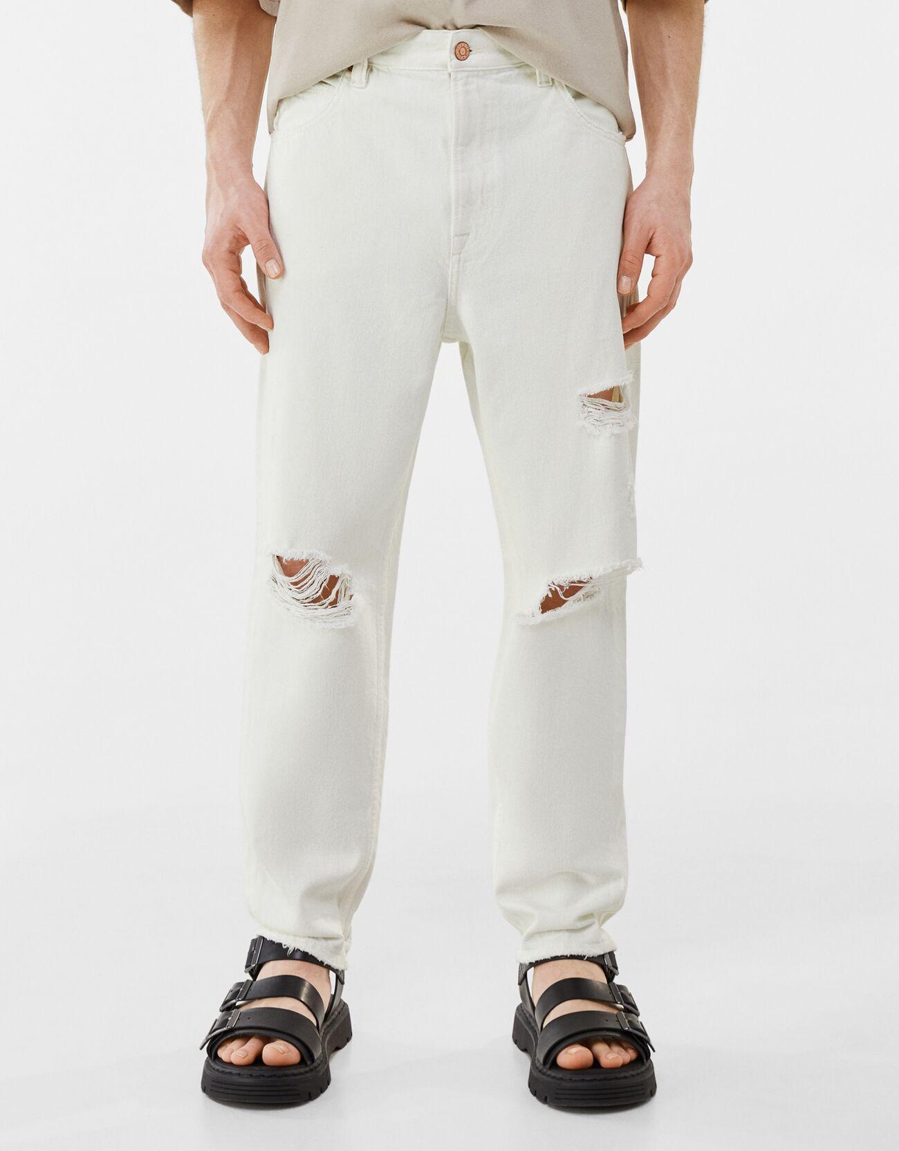 Artikel klicken und genauer betrachten! - Loose Fit Jeans Mit Rissen Color: Rohweiß Size: 34 Material: Baumwolle Farbe:Rohweiß Größe: 34   im Online Shop kaufen