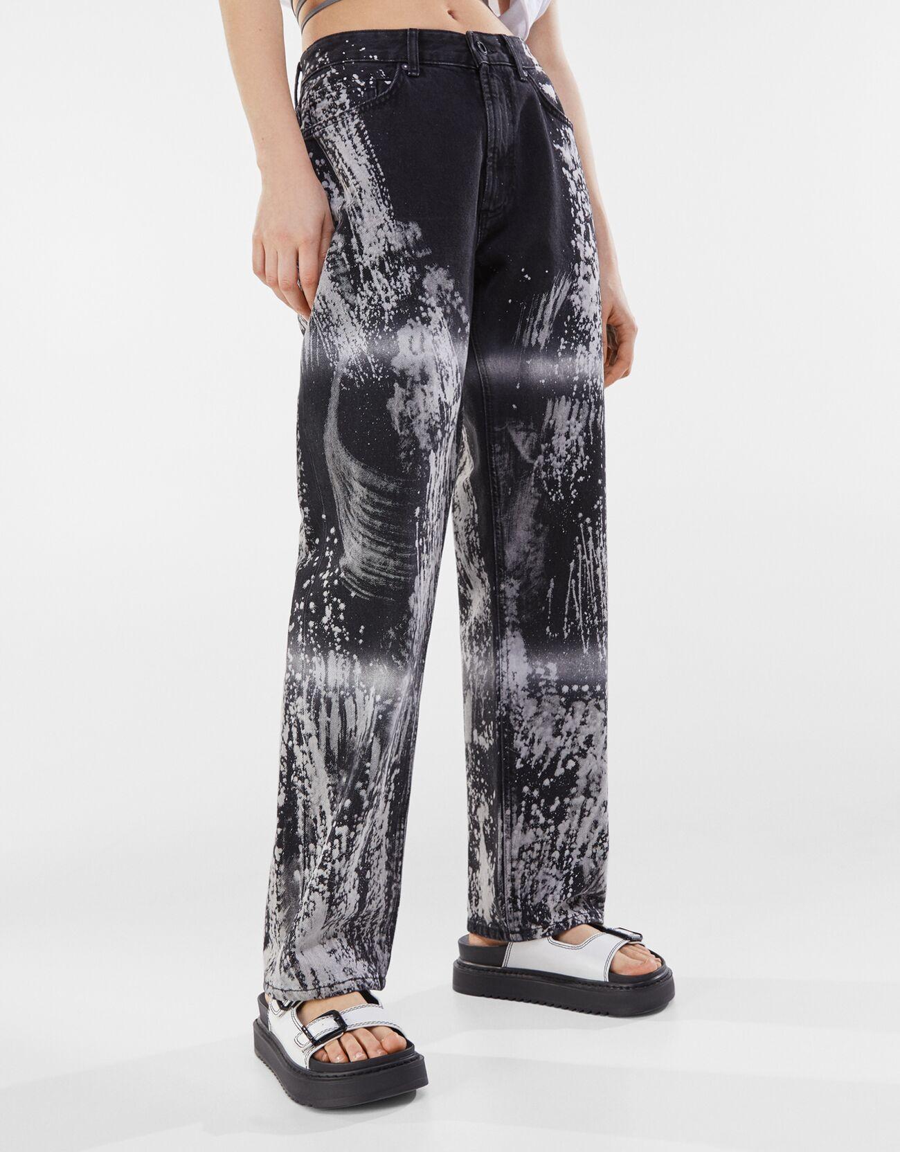Artikel klicken und genauer betrachten! - Straight Jeans Mit Tie Dye Color: Schwarz Size: 42 Material: Baumwolle Farbe:Schwarz Größe: 42   im Online Shop kaufen
