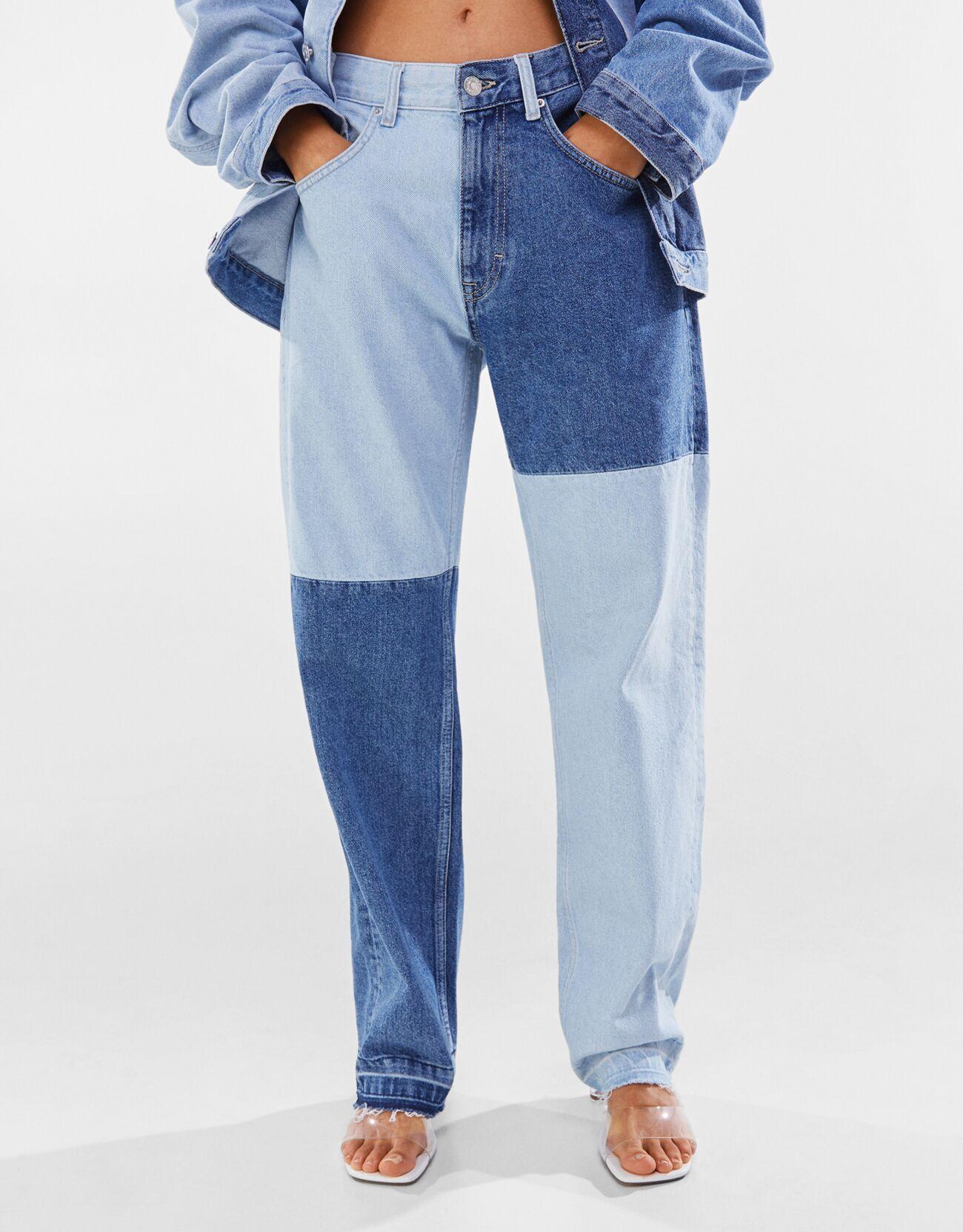 Artikel klicken und genauer betrachten! - Patchwork-Jeans Color: Blau Size: 46 Material: Baumwolle Farbe:Blau Größe: 46   im Online Shop kaufen