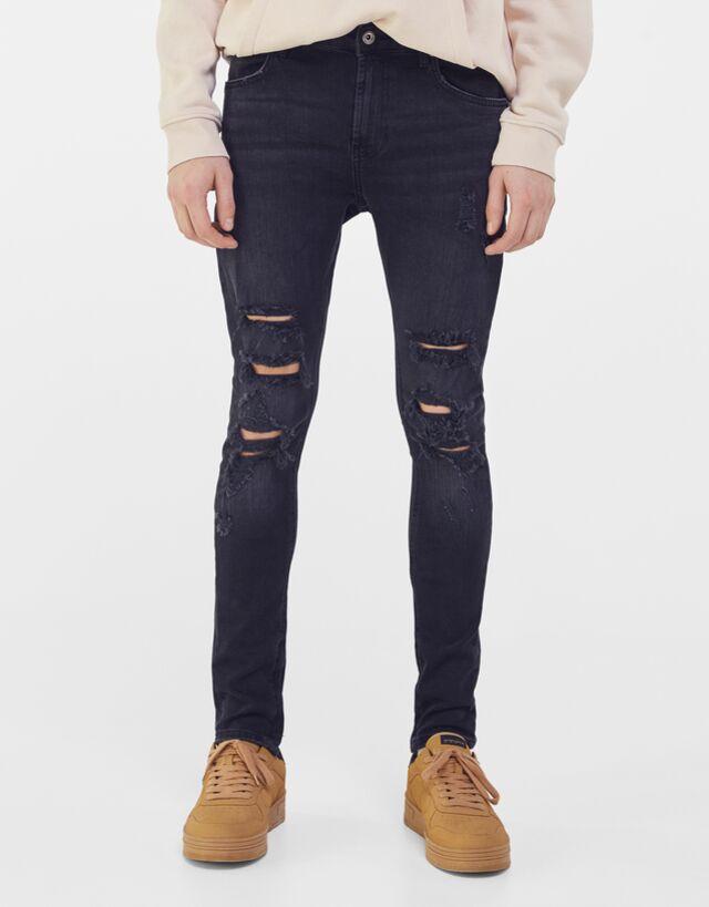 Jeans Super Skinny Rotos Cremallera Lateral Jeans Hombre Bershka