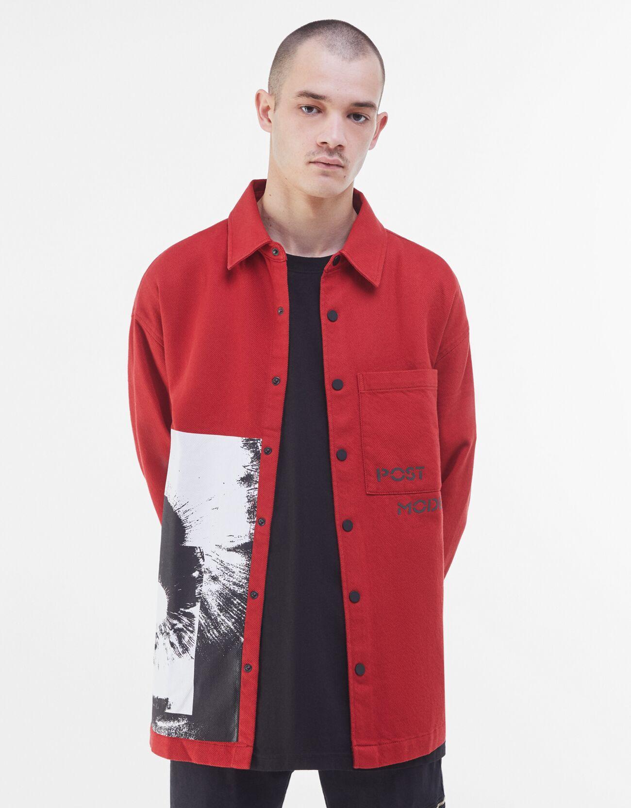 Artikel klicken und genauer betrachten! - Hemdjacke Mit Print Color: Rot Size: S Material: Baumwolle Farbe:Rot Größe: S   im Online Shop kaufen