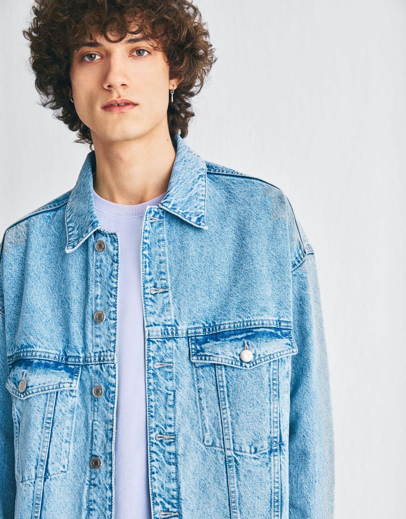 bershka -  Jeansjacke Im Boxy Fit Herren L Ausgewaschenes Blau