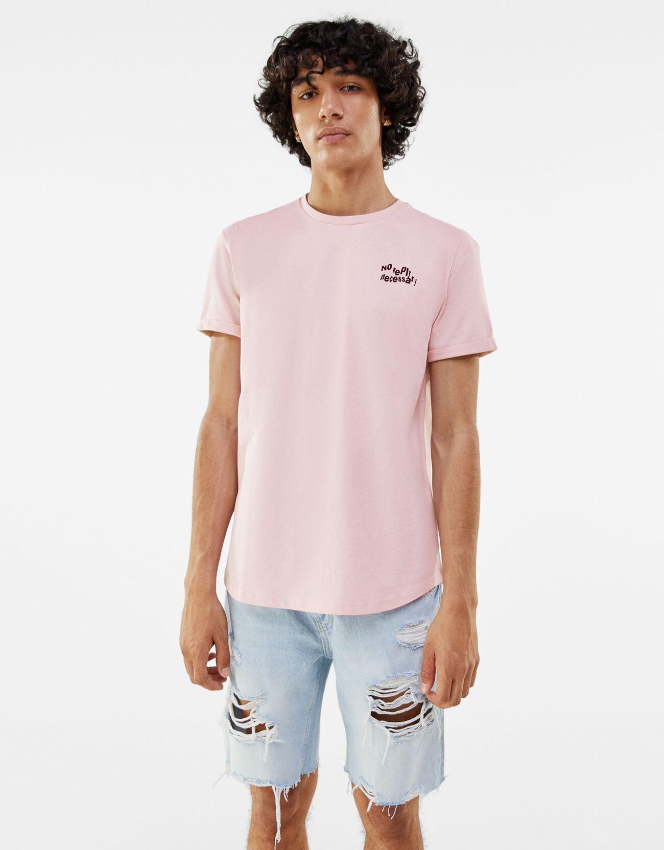 bershka -  Muscle-Fit Shirt Herren L Rosa