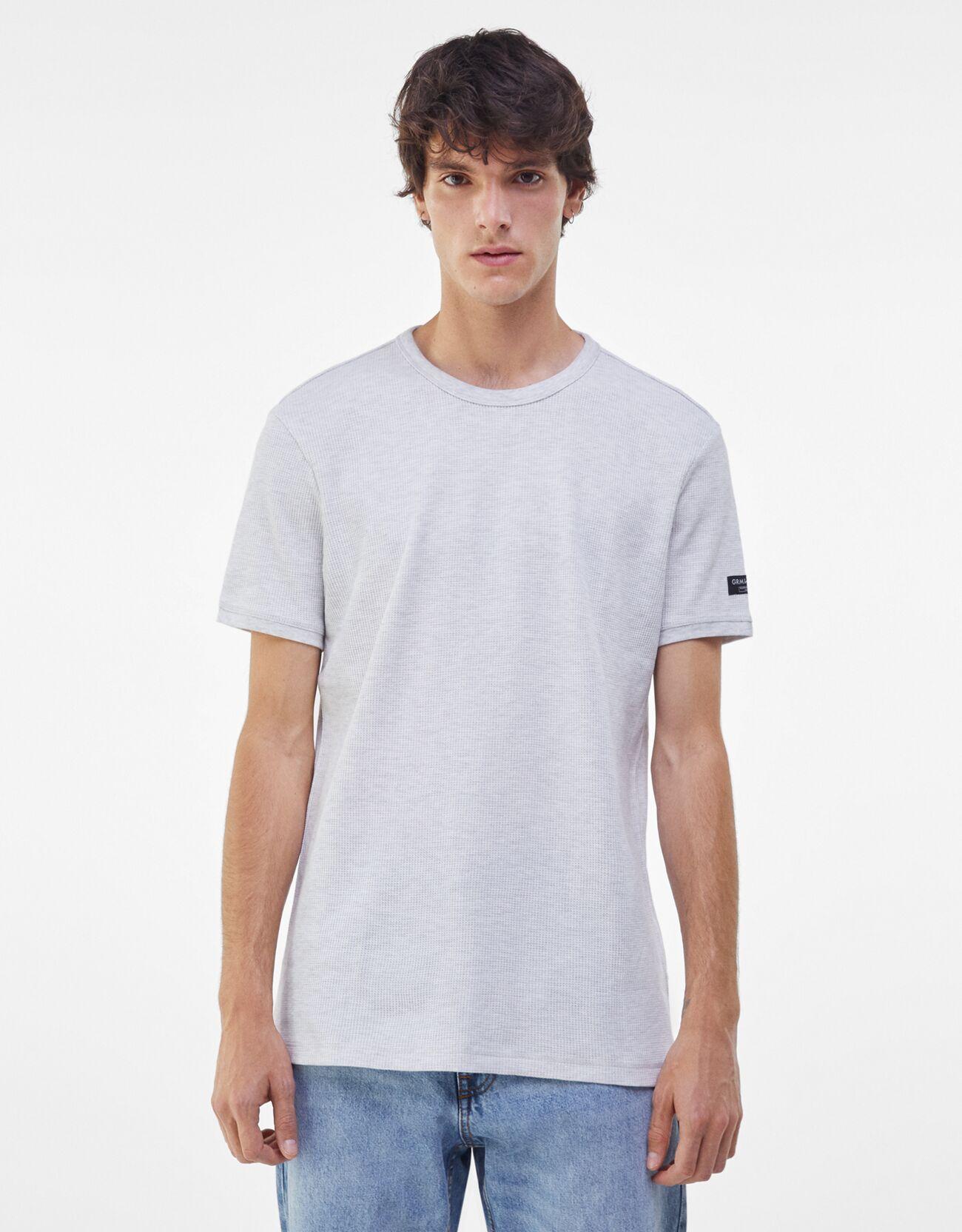 bershka -  T-Shirt Mit Waffelstruktur Herren M Grau