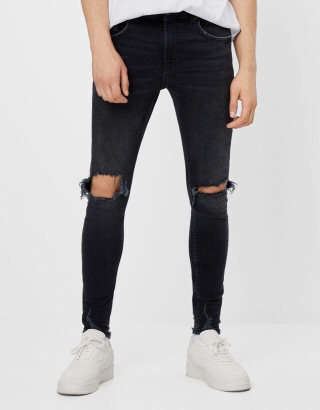 Jeans Super Skinny Rotos Jeans Hombre Bershka