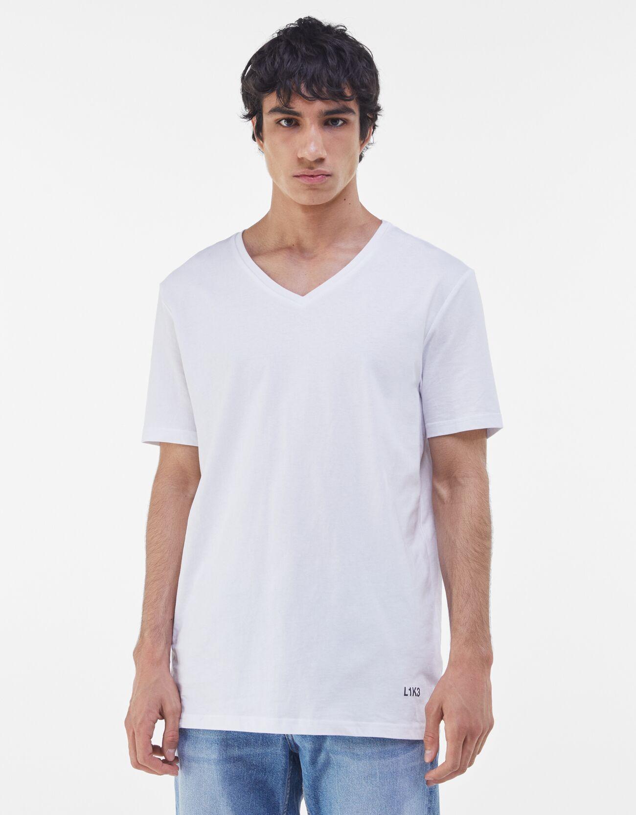 bershka -  T-Shirt Mit V-Ausschnitt Herren L Weiss