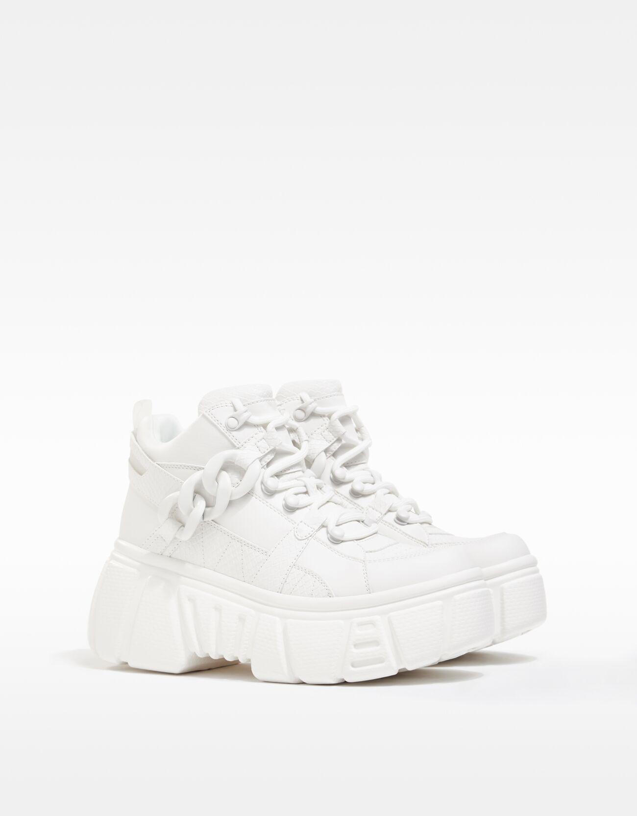 bershka -  Sneaker Mit Xl Plateau Und Ketten Damen 41 Weiss