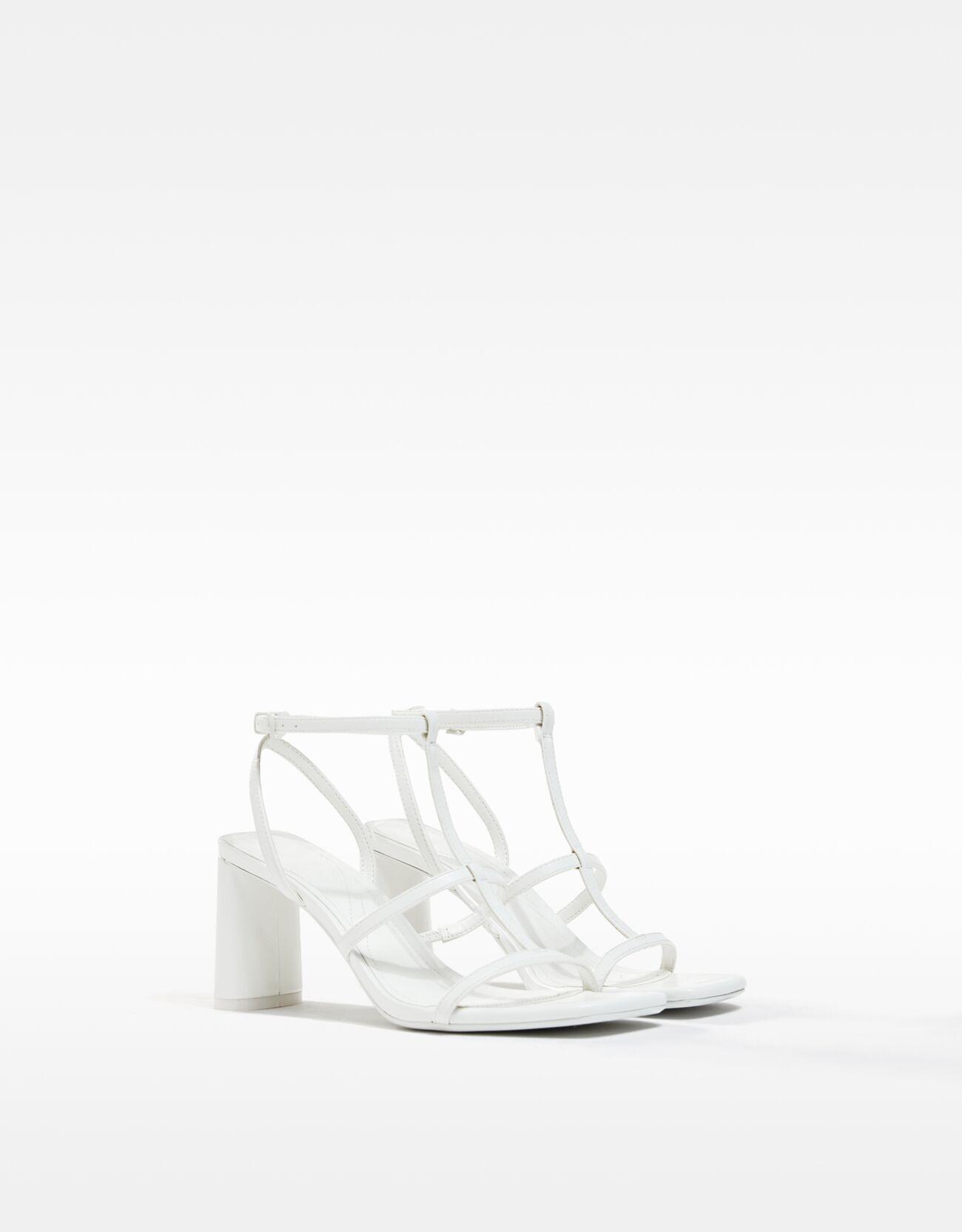 bershka -  Sandalen Mit Absatz Und Knöchelriemchen Damen 36 Weiss