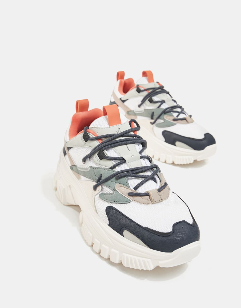 bershka chunky sneaker sand